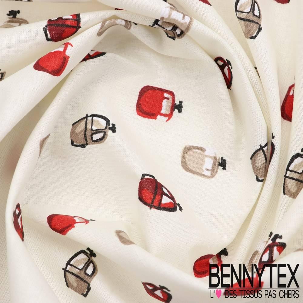 toile lorraine 100 coton modele cabine imprim ton rouge fond ivoire bennytex vente de tissus. Black Bedroom Furniture Sets. Home Design Ideas