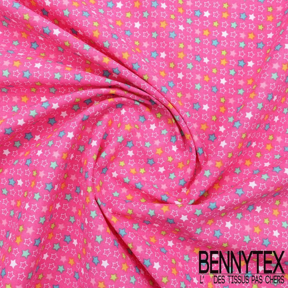 toile lorraine 100 coton imprim constella fond fuchia bennytex vente de tissus pas cher au. Black Bedroom Furniture Sets. Home Design Ideas