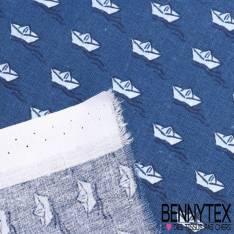"""Toile Lorraine 100% Coton Imprimé """"BARQUE """"fond bleu"""