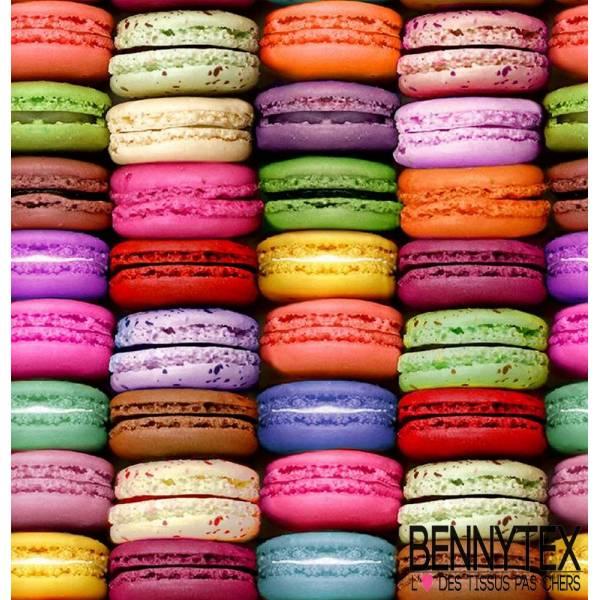Toile Cirée laquée imprimée digital dessert macarons multicolore