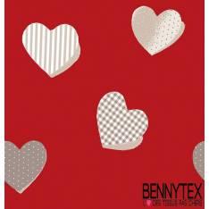Toile Cirée imprimée digital coeur fond rouge bordeaux