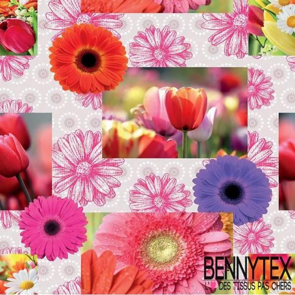 Toile Cirée laquée imprimée digital greigi fleurs tournesol