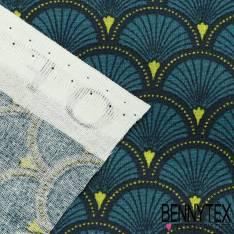 Toile Lorraine 100% Coton Modèle DOUCET Ton Bleu Canard