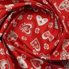 Toile Lorraine 100% Coton Modèle COCHES Imprimé Cœur Fond Rouge