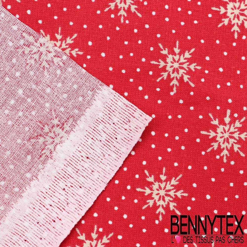 toile lorraine 100 coton mod le crystal imprim flocons fond rouge bennytex vente de tissus. Black Bedroom Furniture Sets. Home Design Ideas