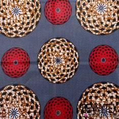 Wax Africain N°063 : Motif Rond Fond Bleu