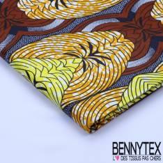 Wax Africain N°068 : Motif Ton Jaune, Bleu, Orange