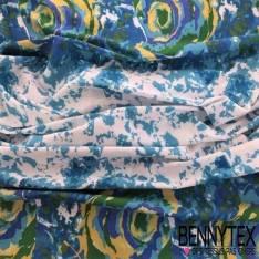 Coton Imprimé Base Imprime tachete Bleu Aqua fond Blanc
