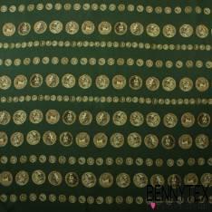 Mousseline de Soie Imprimé Fleurs Multicolor Fond Vert Bouteille