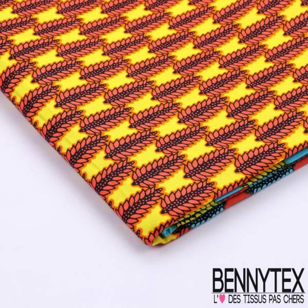 Wax Africain N°073 : Motif Épis Fond Multicolores