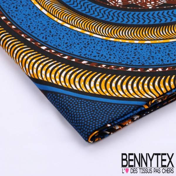 Wax Africain N°074 : Motif Cercle Ton Bleu Foncé