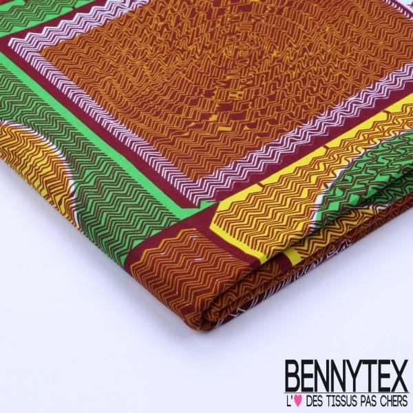 Wax Africain N°076 : Motif Damier Ton Vert et Marron