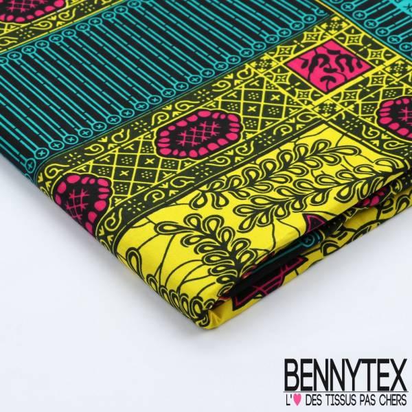 Wax Africain N°080 : Motif Graphique Ton Vert et Jaune