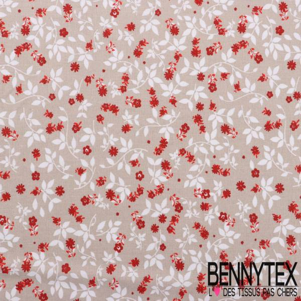 Toile Lorraine 100% Coton Modele DELICATE Imprimé Fleur Fond Beige