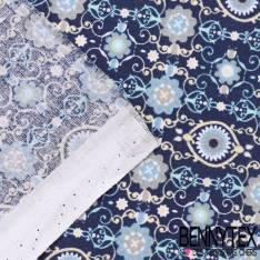 Toile Lorraine 100% Coton Modèle ARTDECO Imprimé Ton Bleu