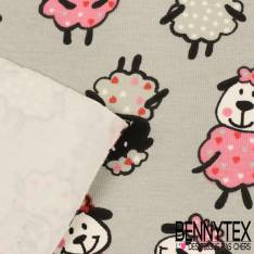 Jersey Coton Imprimé Modèle MOUTON Ton Gris et Rose