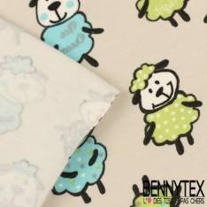 Jersey Coton Imprimé Modèle MOUTON Ton Bleu et Vert