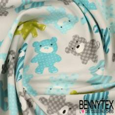 Jersey Coton Imprimé Modèle OURSON Ton Turquoise