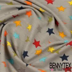 Jersey Coton Imprimé Modèle SEONG Motif Etoile Multicolore Fond Gris