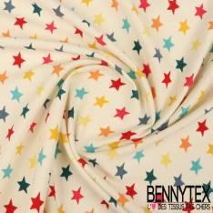 Jersey Coton Imprimé Modèle SEONG Motif Etoile Multicolore Fond Écru