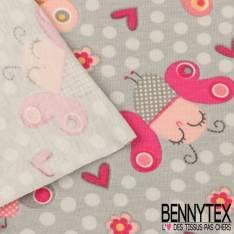 Jersey Coton Imprimé Modèle BIZZ Motif Papillons Fond Gris