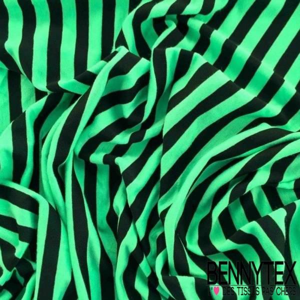 Jersey Viscose Vert d'eau Fluo rayures Noir
