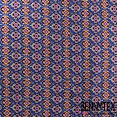 Fibranne Viscose Motif retro fond Bleu indigo