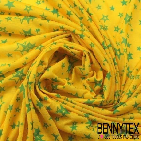 Jersey Polyester Imprime Etoiles Vertes Fond Jaune