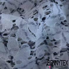 Dentelle Imprime Carreaux Fins Bleue à Fleurs fonc Blanc