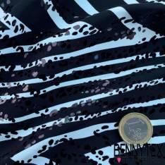Microbribre Polyester Imprimé Noir et Blanc