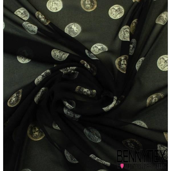Mousseline de Soie Imprimé Pièce Romaine Fond Noir