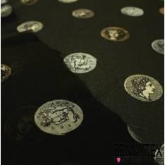 Mousseline de Soie noir piece romaine