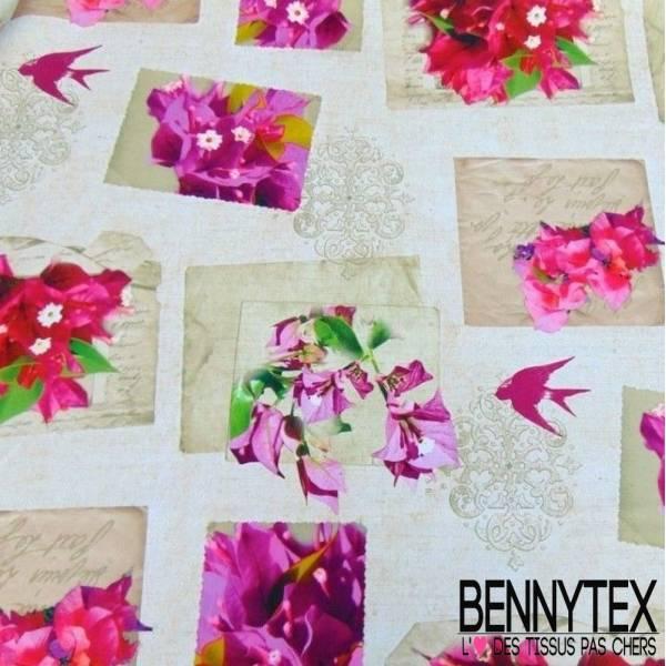 Polyester Imprimé Fleurs Oiseaux pour Nappe