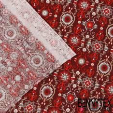 Toile Lorraine 100% Coton Modèle ARTDECO Imprimé Ton Rouge