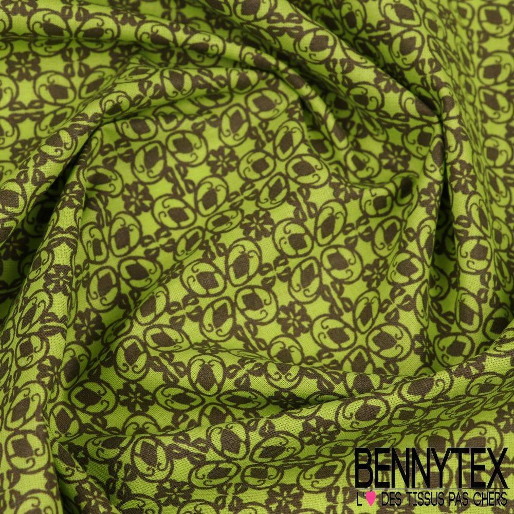 toile lorraine 100 coton mod le diane imprim ton vert anis bennytex vente de tissus pas cher. Black Bedroom Furniture Sets. Home Design Ideas