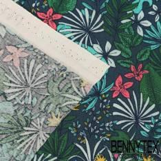 Toile Lorraine 100% Coton Modèle PITAYA Imprimé Fleur Tropical Ton Vert