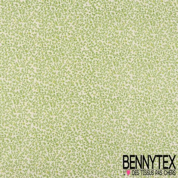 Toile Lorraine 100% Coton Modèle LAURIE Imprimé Floraux Couleur Vert