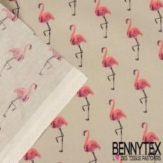 Toile Lorraine 100% Coton Modèle PINKY Imprimé Flamant Rose Fond Beige