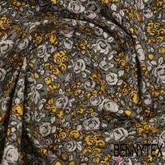 Toile Lorraine 100% Coton Modèle ROSELINA Imprimé Fleurs Ton Jaune