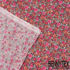 Toile Lorraine 100% Coton Modèle ROSELINA Imprimé Fleurs Ton Rose