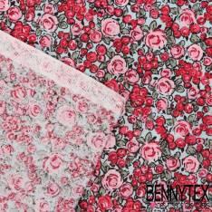 Toile Lorraine 100% Coton Modèle ROSELINA Imprimé Fleurs Ton Grenat