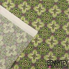 Toile Lorraine 100% Coton Modèle DAIZY Imprimé motif Ton vert