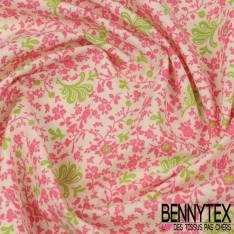 Toile Lorraine 100% Coton Modèle LUCY Ton Rose et Vert