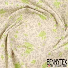 Toile Lorraine 100% Coton Modèle LUCY Ton Gris et Vert
