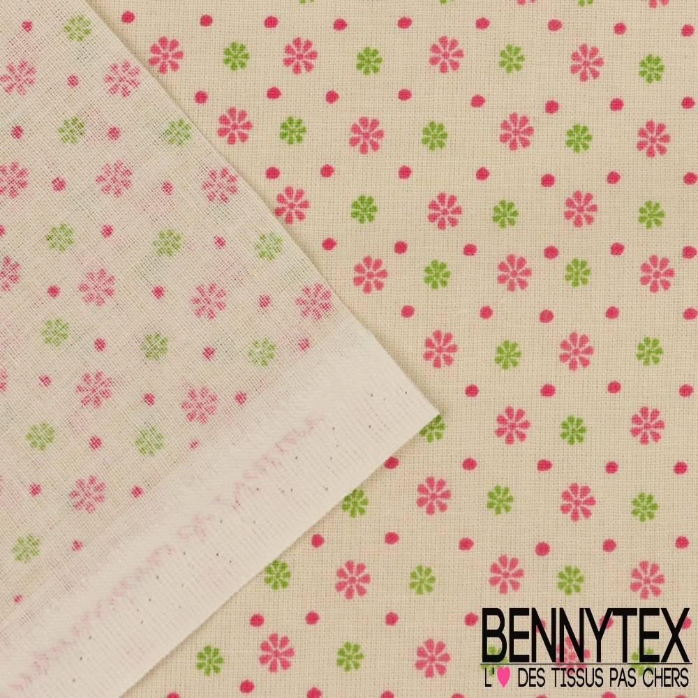 toile lorraine 100 coton mod le carole imprim ast risque ton rose fond naturel bennytex. Black Bedroom Furniture Sets. Home Design Ideas