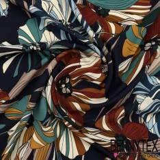 Microfibre Imprimé à Fleur Striées Multicolores Sur Fond Marine