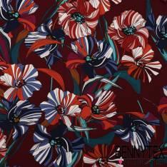 Microfibre Imprimé à Fleur Striées Multicolores Sur Fond Bordeaux
