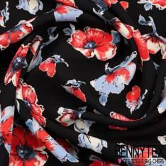Microfibre Imprimé Motif Fleurs Rouge et Bleu sur fond Noir