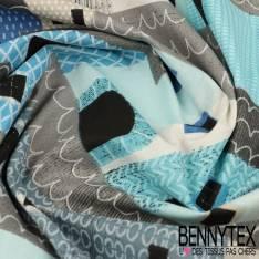 Cretonne 100 % Coton Modèle MONTEROSSO Ton Bleu