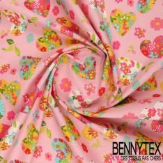 Cretonne 100 % Coton Modèle HEARTY Motif Cœur Multicolores fond Rose